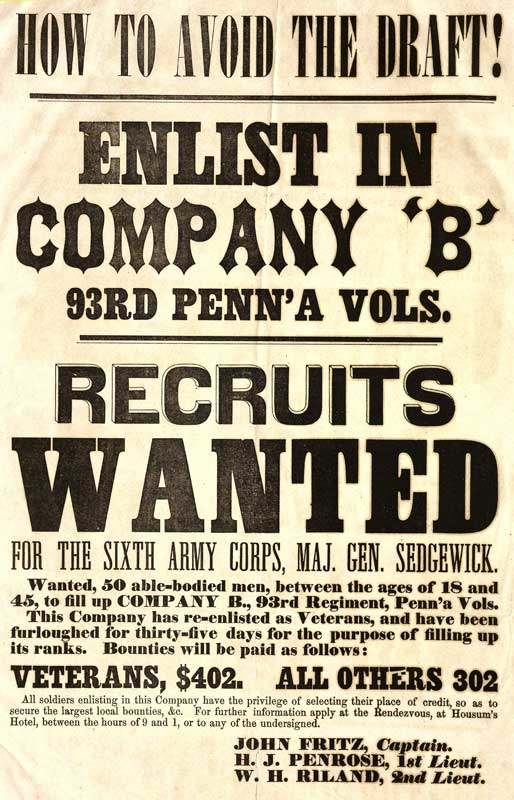 Civil War Recruiting Broadsides Berks History Center