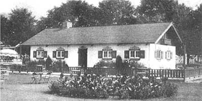 The Carsonia Park Beer Garden was constructed by Fred H. Ludwig of Reading Blvd., Wyomissing, who had a major involvement in the ownership and operation of Carsonia, probably because of the great amount of lumber needed in its maintenance. Ludwig was president of Merritt's LUMBER yard. The building still stands today, operating as Anthony's Restaurant at the corner of Navella and Penndale Avenues in Pennside. — photograph from the Passing Scene, Vol. 2