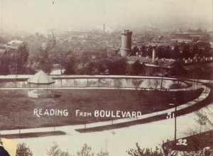 """Another view of the bandstand, from the """"Boulevard."""" The Lily Pond and prison are also visible."""
