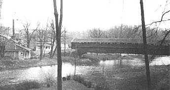 The Dreibelbis Covered Bridge from the West Bank looking downstream.