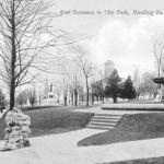 A postcard view of the east entrance to the Commons, the corner of Perkiomen Avenue and Hill Road.